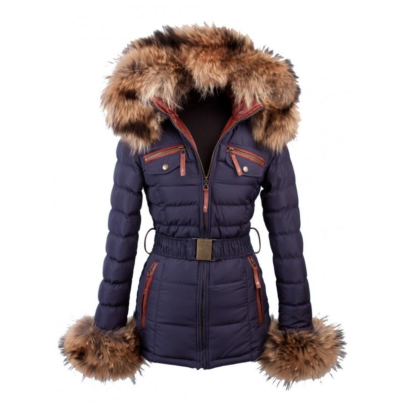 Lang Winterjas.Lange Blauwe Winterjas Met Echte Bont Extra Dik Op Kraag En Mouwen